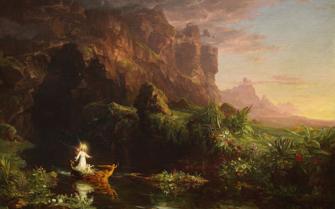 Thomas Cole The Voyage of Life Childhood painting classic art wallpaper