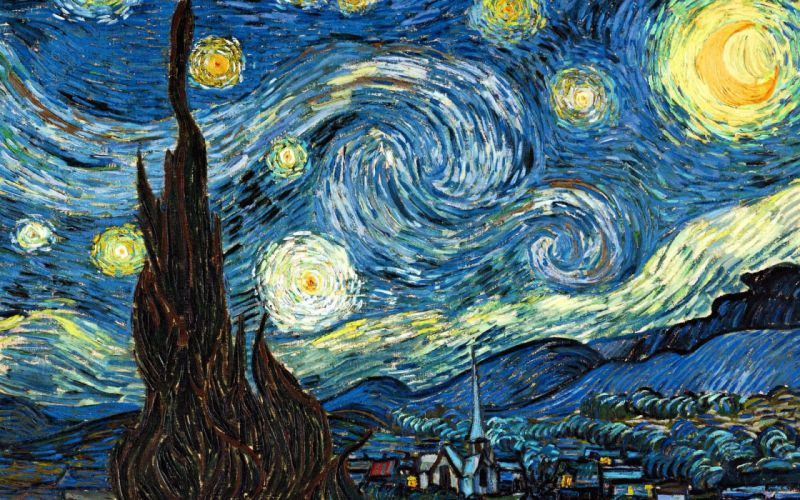 Vincent van Gogh painting The Starry Night classic art stars surreal wallpaper