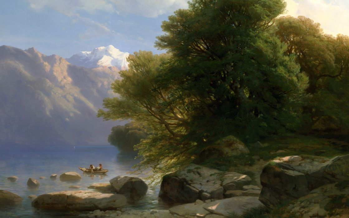 painting boat rock trees river classic art Alexandre Calame wallpaper