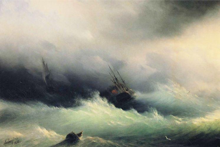 painting Ivan Aivazovsky sea sailing ship boat classic art wallpaper