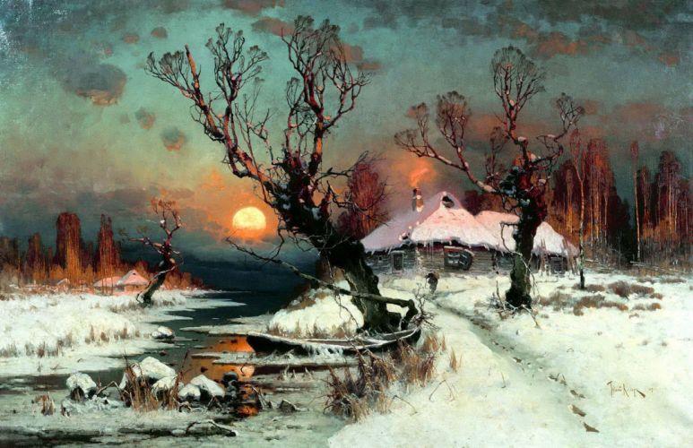 painting snow dead trees stream cottage Sun winter classic art wallpaper