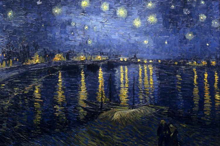 painting Vincent van Gogh Stars Reflection Water Boat Classic art wallpaper