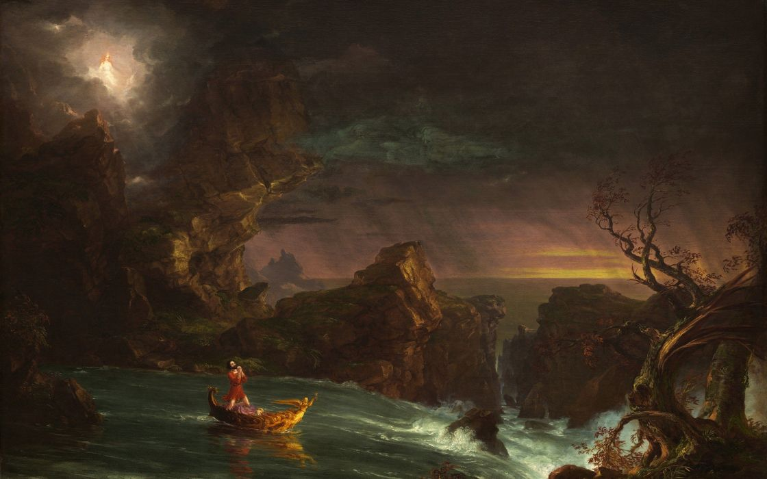 Thomas Cole The Voyage of Life Manhood painting classic art wallpaper