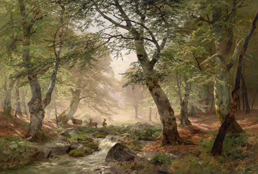 forest landscape classic art wallpaper