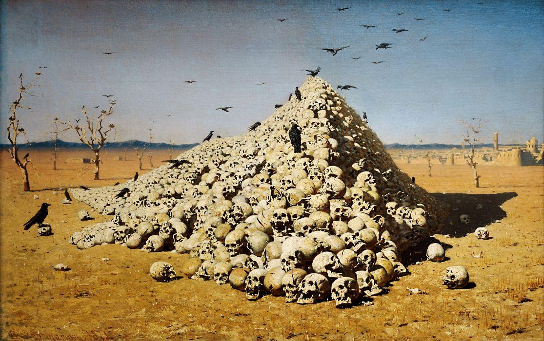 drawing painting desert death Vasily Vereshchagin The Apotheosis of War classic art wallpaper