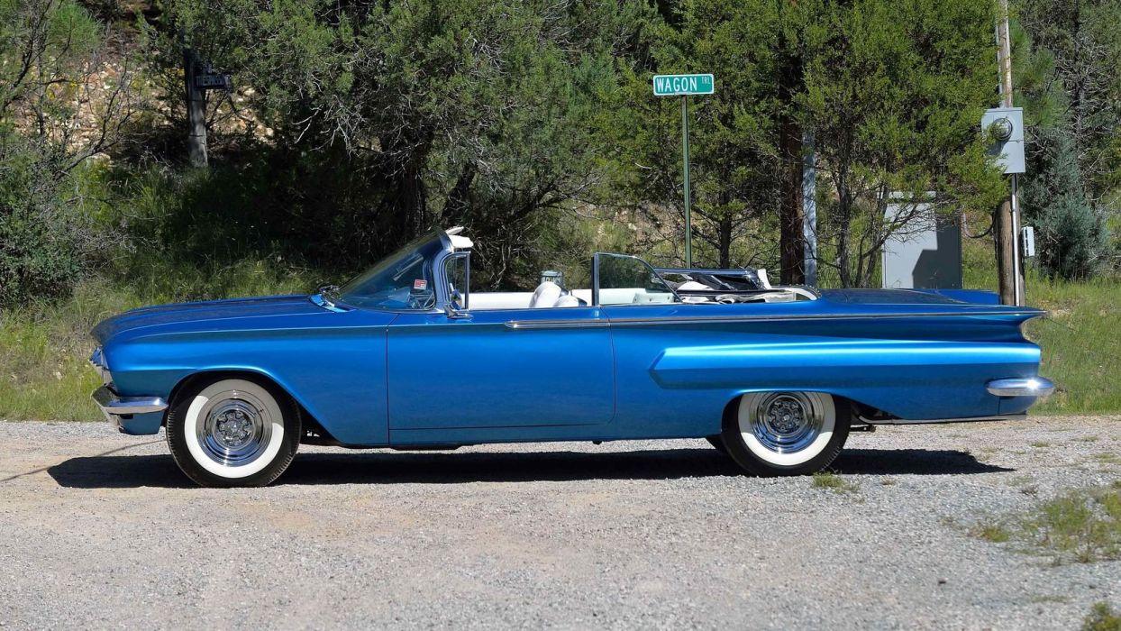 1960 CHEVROLET IMPALA CONVERTIBLE cars classic blue wallpaper