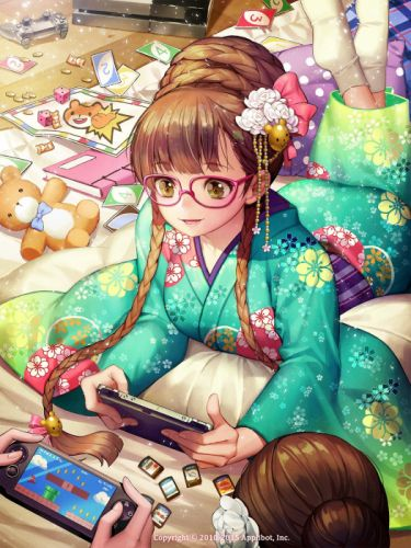 bed brown eyes brown hair crossover flower gaming glasses happy kimono long hair ribbon teddy twin tails Gang Road Super Mario Bros wallpaper