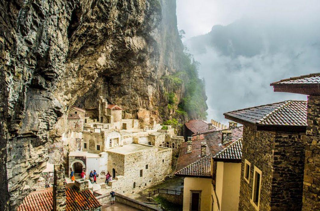 nature mountain fog city sumela turkey wallpaper