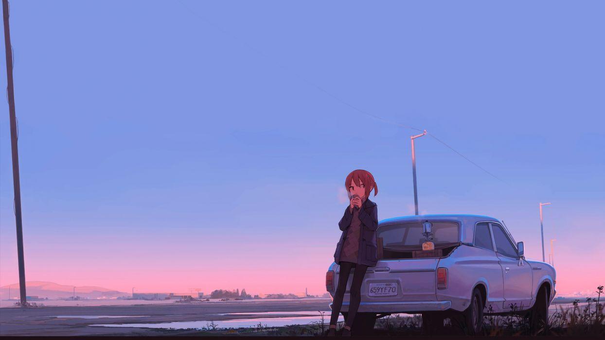 Car Sunset Anime Girl Original Characters Wallpaper