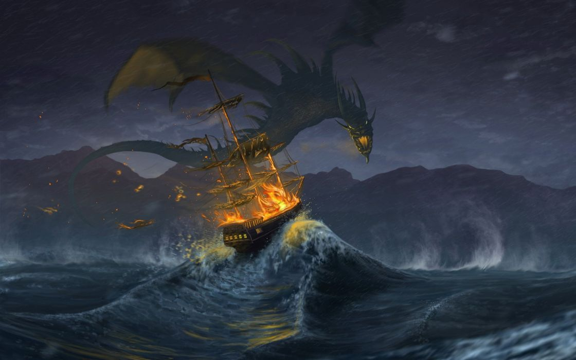 Fantasy attack sea ocen ship dragon  wallpaper