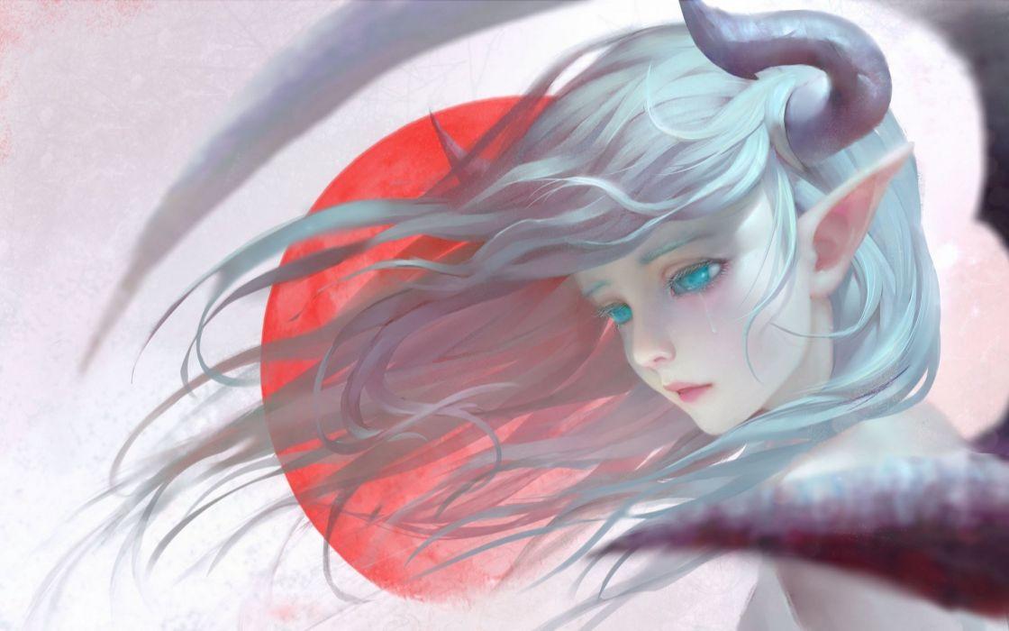 horns pointed ears blue eyes tear realistic blue hair fantasy art wallpaper