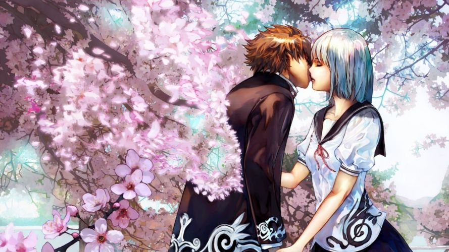 Kiss under blossoming tree couple anime wallpaper