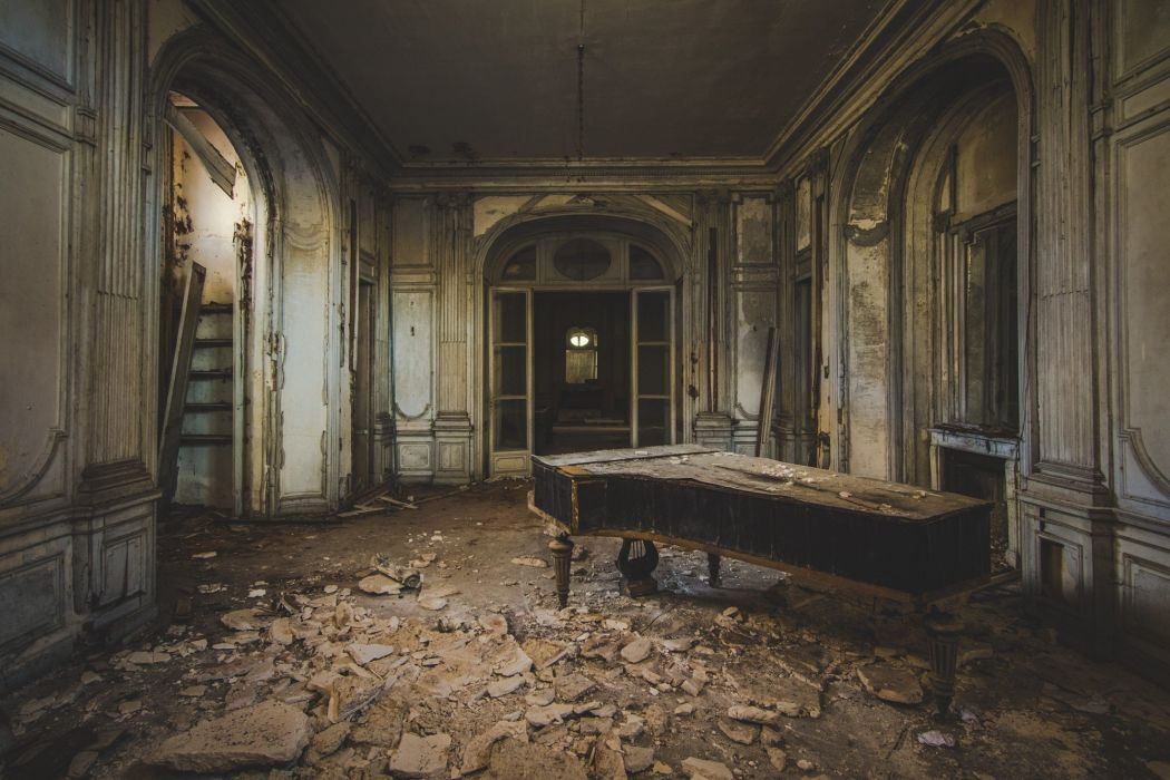 photography abandoned interior interior design piano old wallpaper