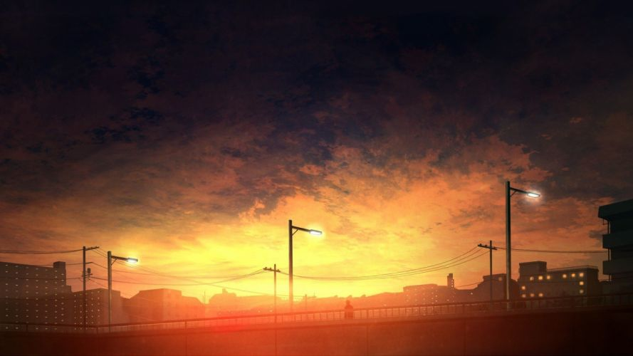 sunset sky cityscape anime wallpaper