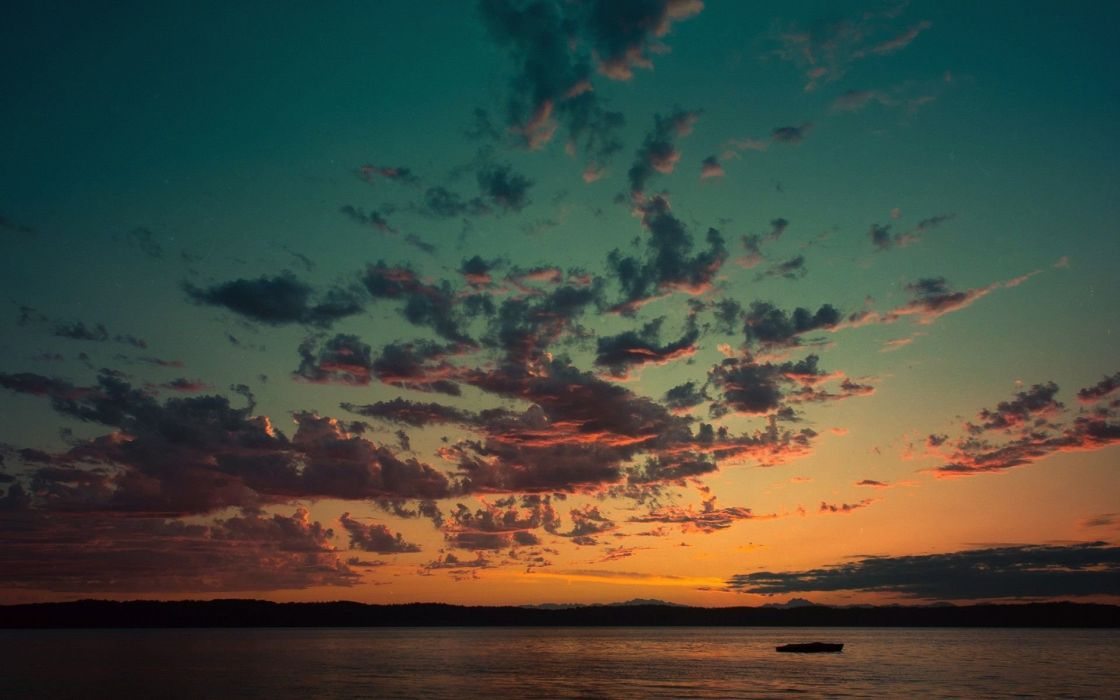 Sunset over lake sky cloud photography  wallpaper