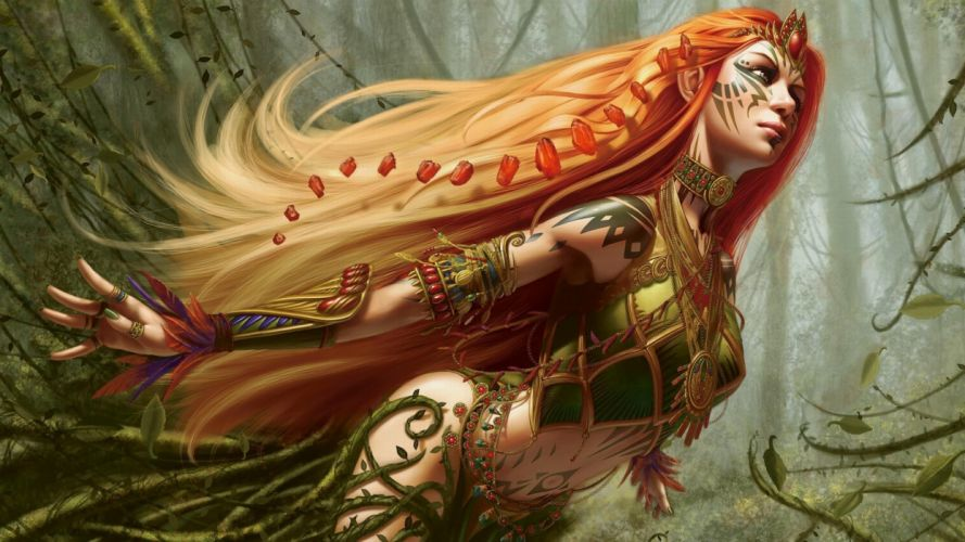 Magic gathering forest woman fairy wallpaper