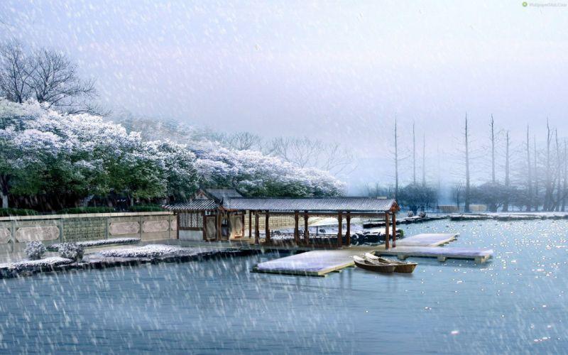 Snowing japan wallpaper