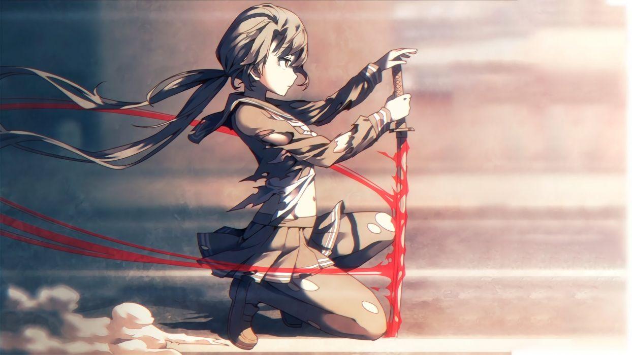 anime women sword katana Takayama Sayoko THE iDOLM@STER Million Live! torn clothes kirt long hair anime girls wallpaper
