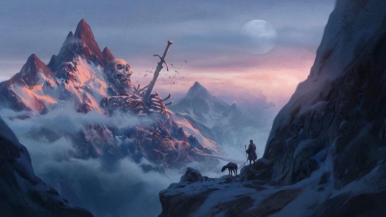 mountains giant sword skeleton bones clouds snow mist skull fantasy art wallpaper