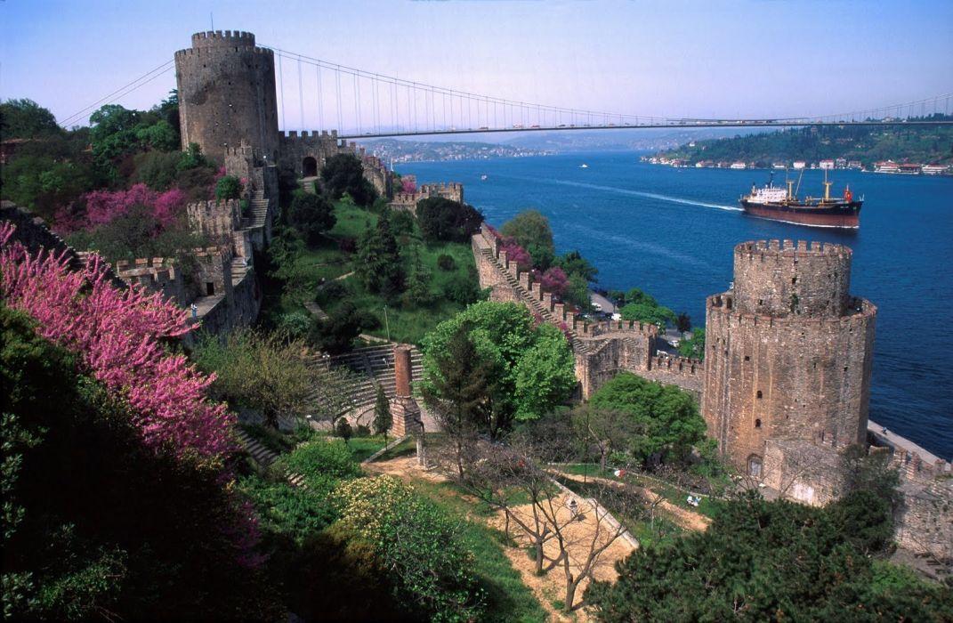 Turkish bridge castle river wallpaper