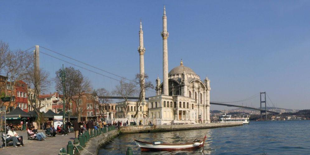 Turkey mosque bridge Istanbul Ortaky wallpaper