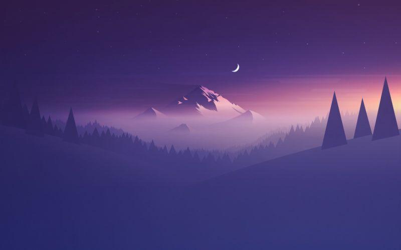 Mountain night moon purple landscape wallpaper