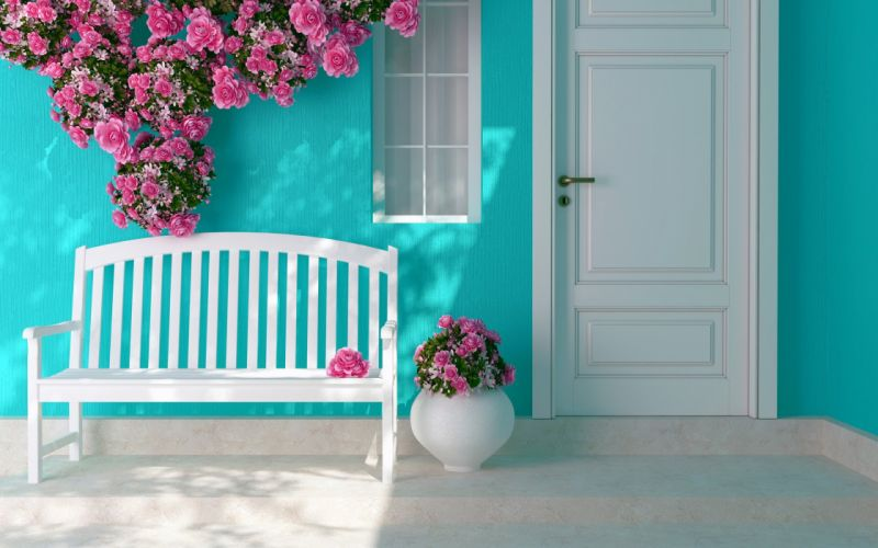 Flowers roses shops windows interior decoration warm wallpaper