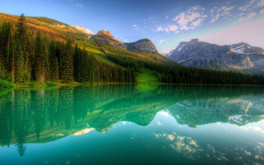 Canada yoho lake forest natural landscape wallpaper