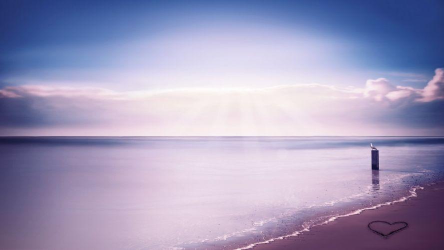 heart beach sky sea ocean wallpaper