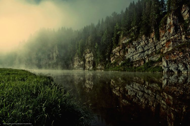 Rocks river Russia landscape fog forest spruce reflection morning wallpaper