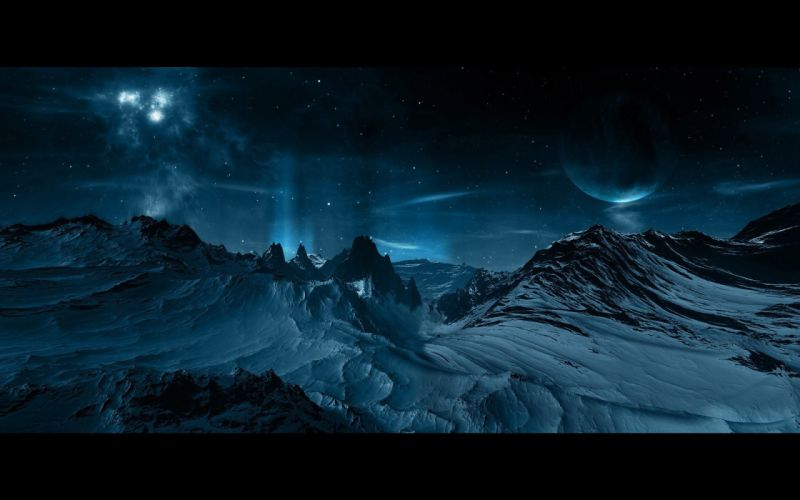 Planets above snowy mountains sky nighy star fantasy wallpaper