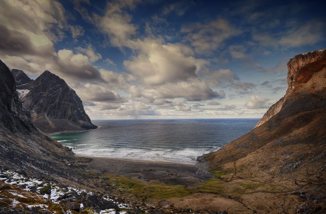 Seashore Norway Kvalvika Lofoten Islands Flying Clouds Seascape Retina Nature wallpaper