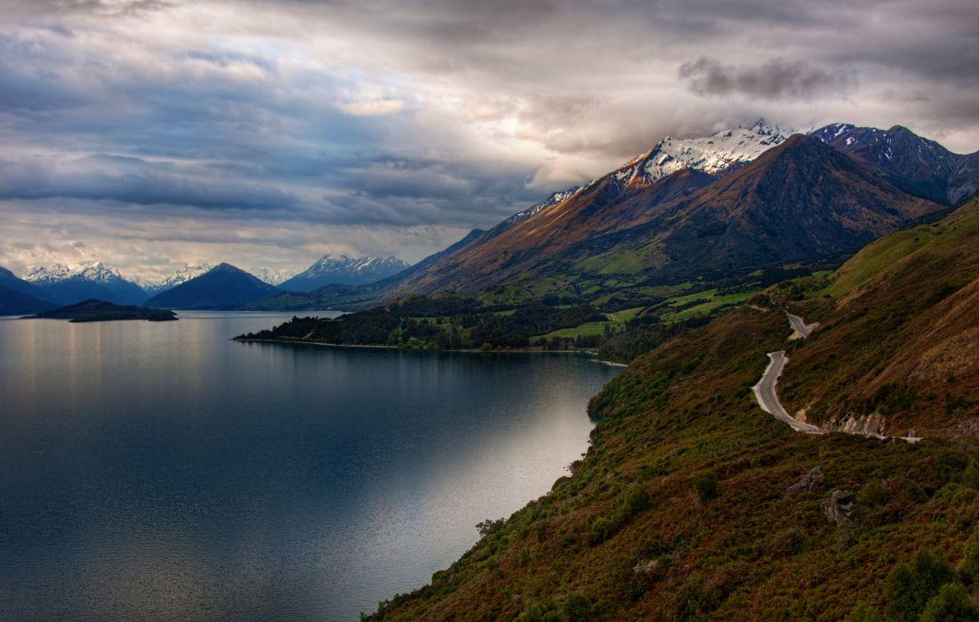 Mount Creighton Southern Alps Otago Zealand Road Island Retina Nature wallpaper