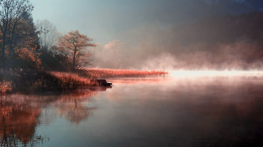 lake Morning Fog in the beautiful landscape wallpaper