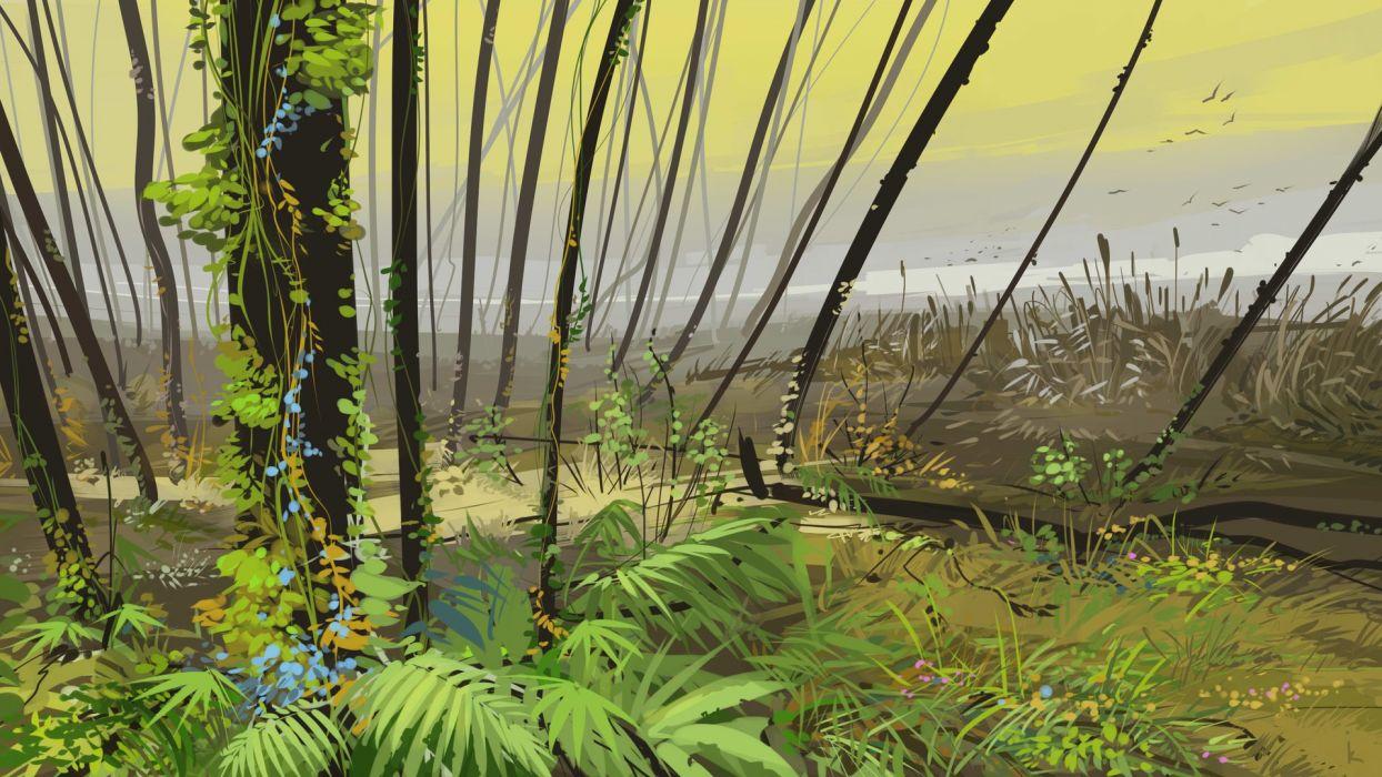 Russian artist Alexey landscape illustrator wallpaper
