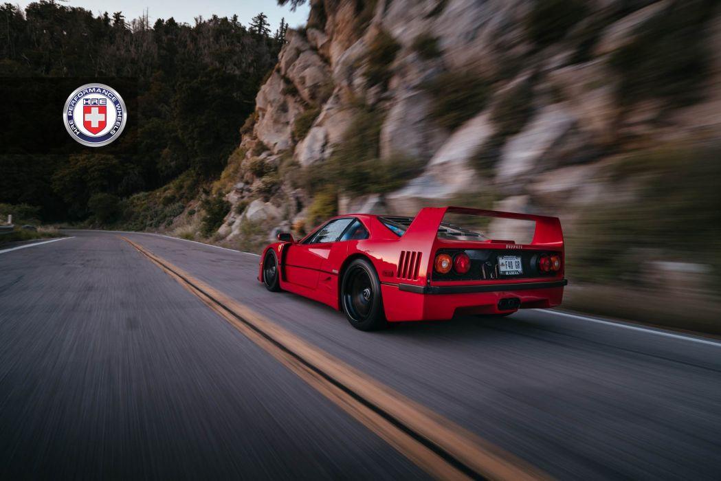 Ferrari F40 HRE Wheels cars supercars red wallpaper