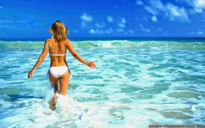 mujer bikini blanco vacaciones mar wallpaper