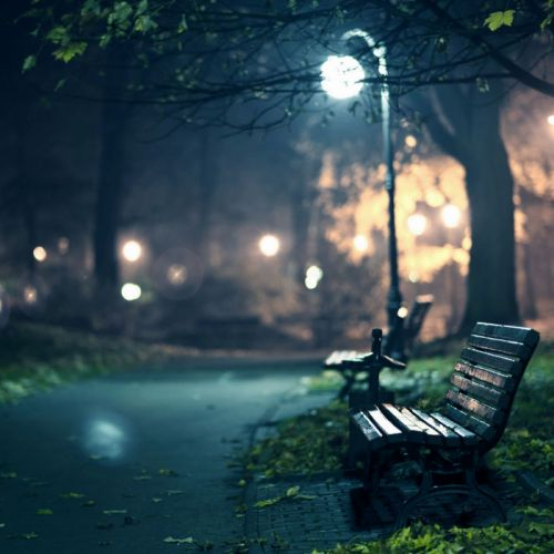 Lonely Beach In The Park Street Light wallpaper