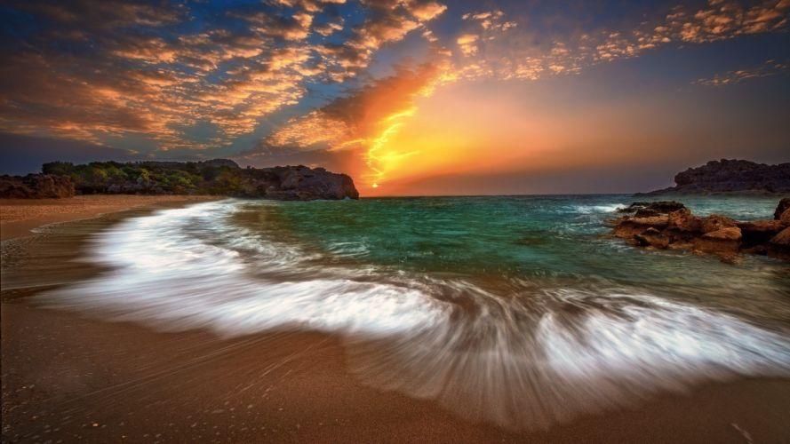 playa mar naturaleza cielo rojo wallpaper