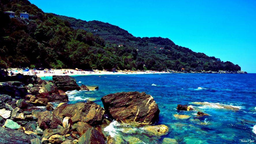 playa rocas mar naturaleza wallpaper
