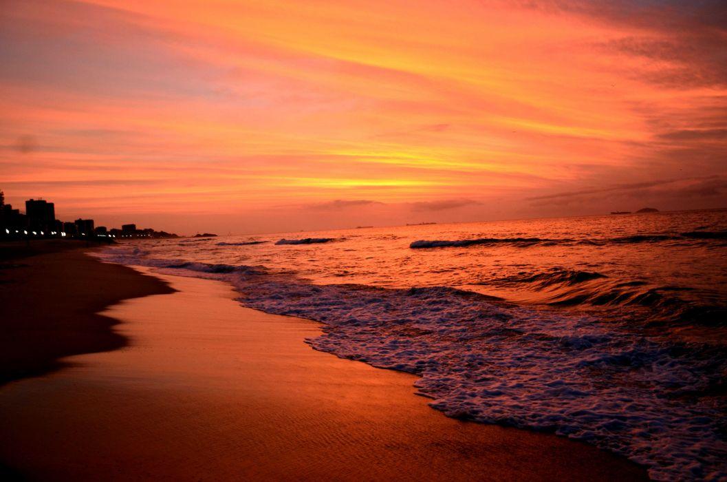 amanecer playa mar naturaleza wallpaper