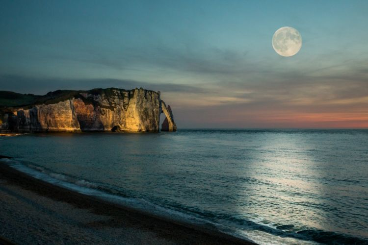playa noche mar naturaleza luna wallpaper