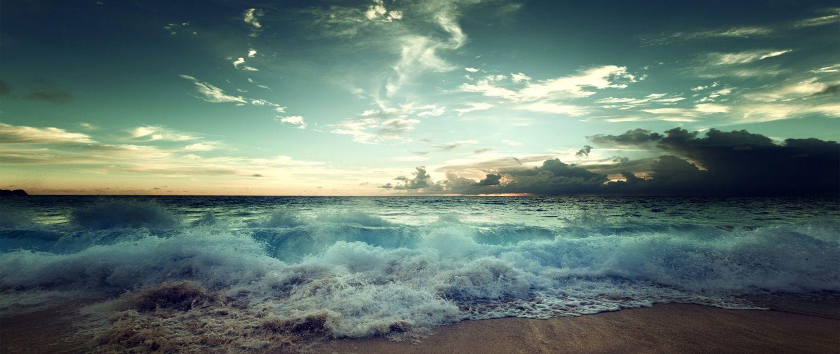 playa mar olas naturaleza wallpaper
