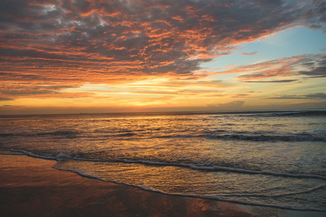 ocaso playa mar naturaleza wallpaper