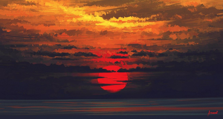 sunset art painting  wallpaper