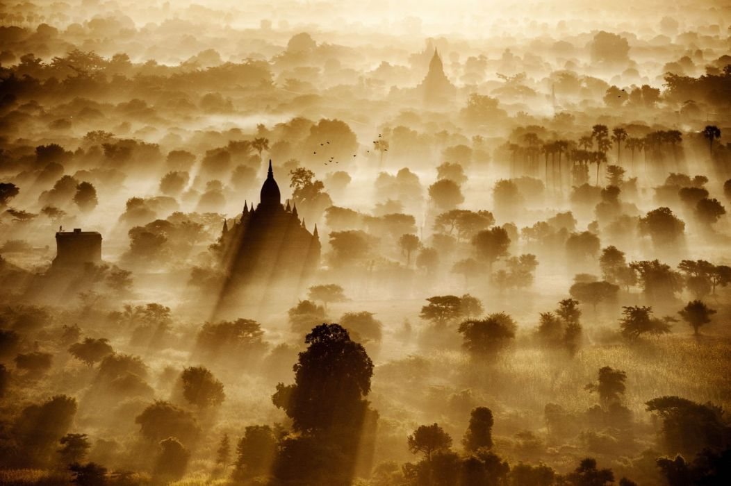 sun Rays Bagan Temple Artwork wallpaper