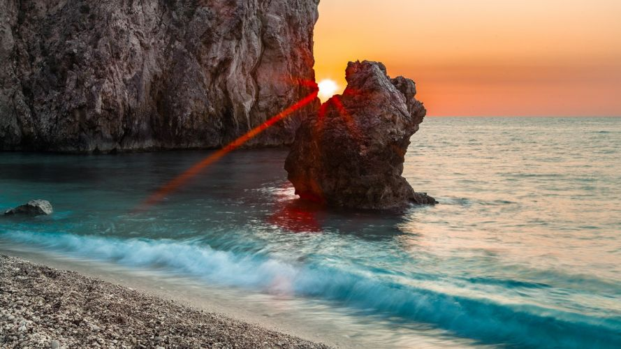 sun rays rocksea and sunset photography depth of field landscape wallpaper