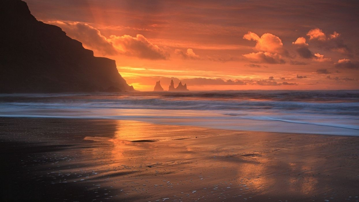 sea clouds sunset waves nature landscape photography wallpaper