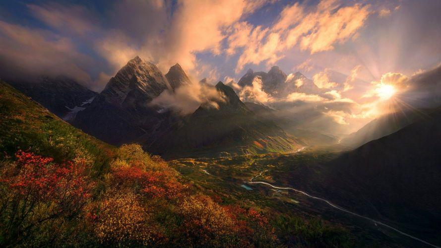 nature landscape fall shrubs mountains Himalayas Tibet wallpaper