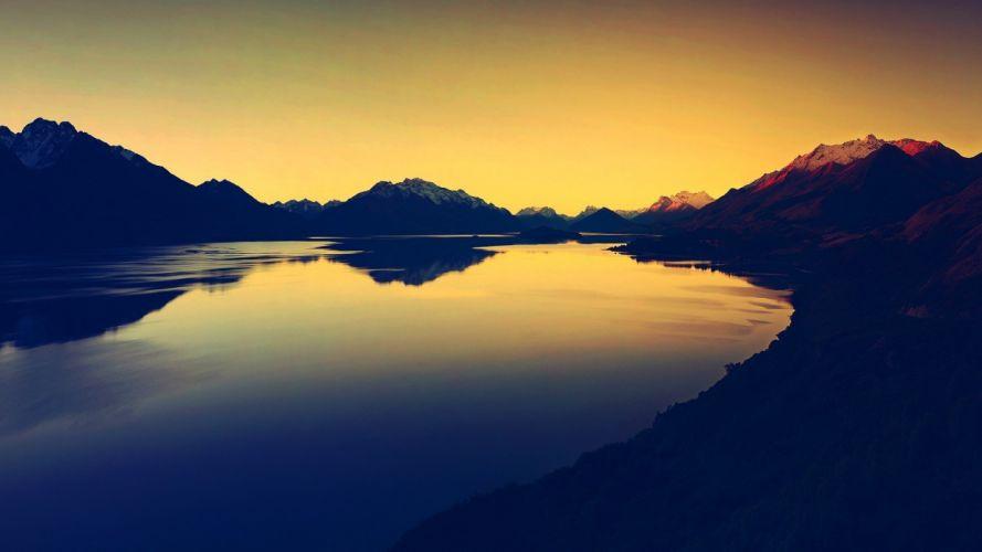 lake nature landscape sunset wallpaper